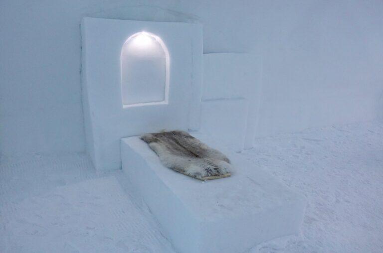 Photo of plain room at the Icehotel in Jukkasjärvi, Sweden.