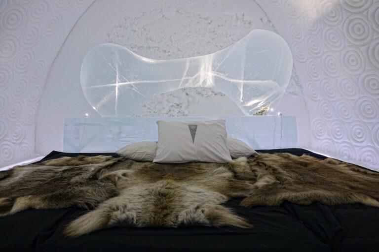 Photo of the Bone Room at the Icehotel in Jukkasjärvi, Sweden.