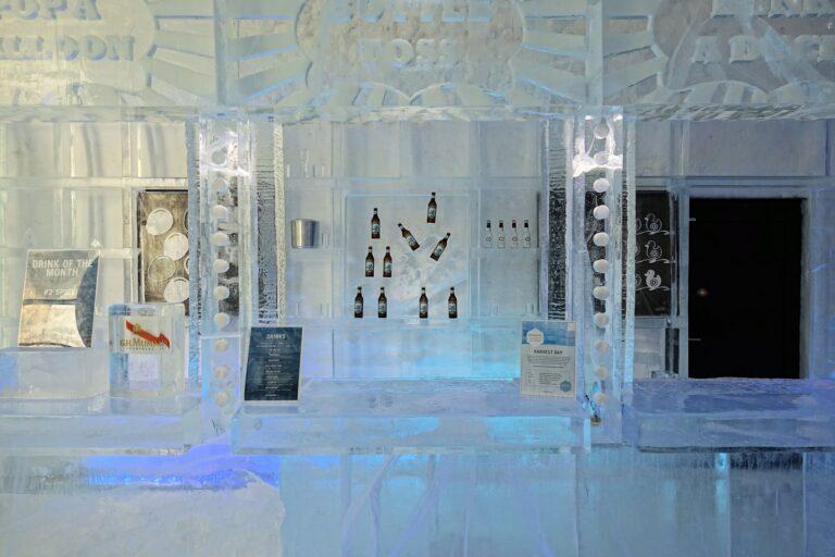 Photo of the Icebar Torneland at the Icehotel in Jukkasjärvi, Sweden.