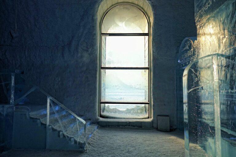 Photo of window at the Icebar at Icehotel in Jukkasjärvi, Sweden.