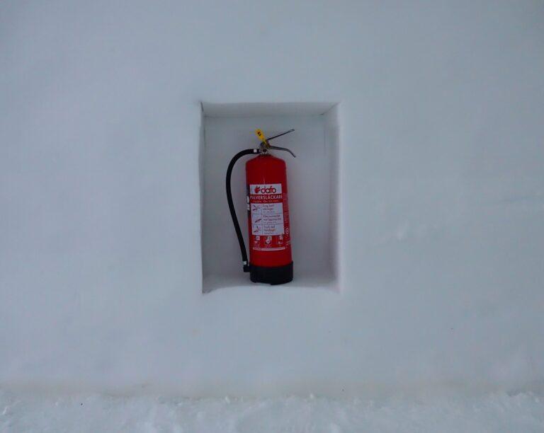Photo of fire extinguisher at the Icehotel in Jukkasjärvi, Sweden.