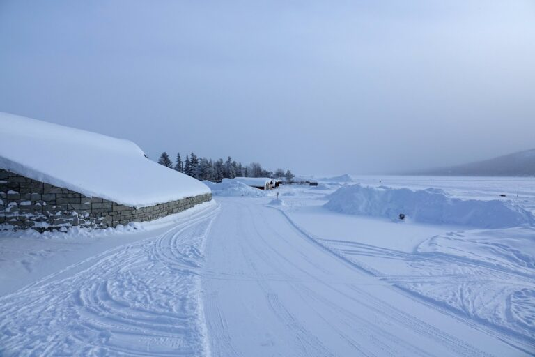 Photo of exterior and river at the Icehotel in Jukkasjärvi, Sweden.
