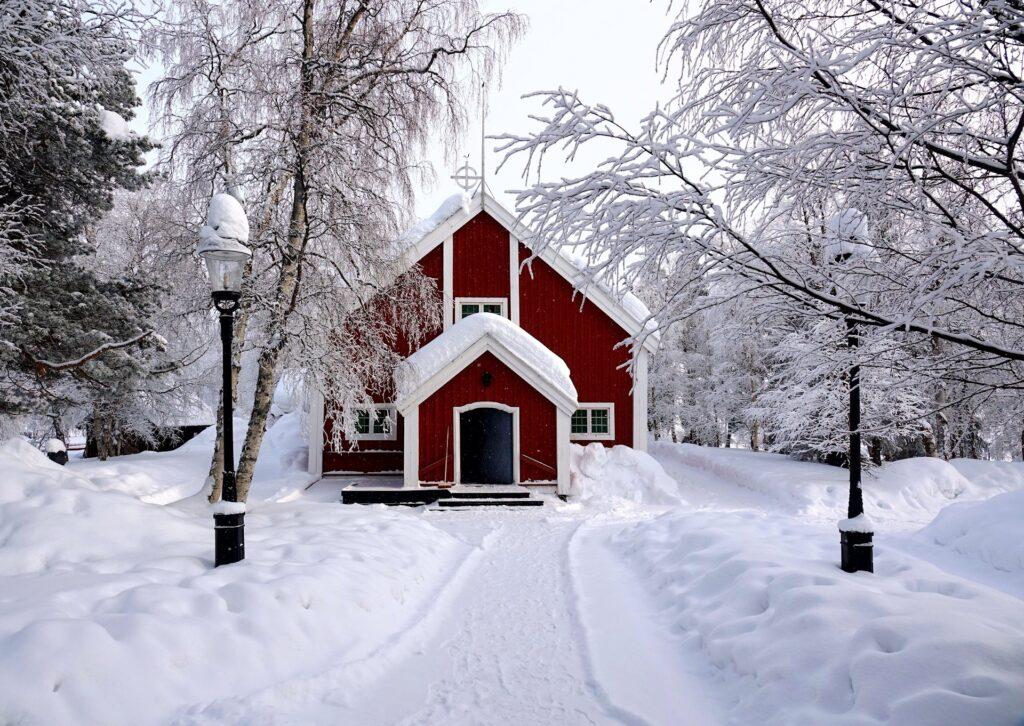 Photo of Jukkasjärvi Church from 1607.