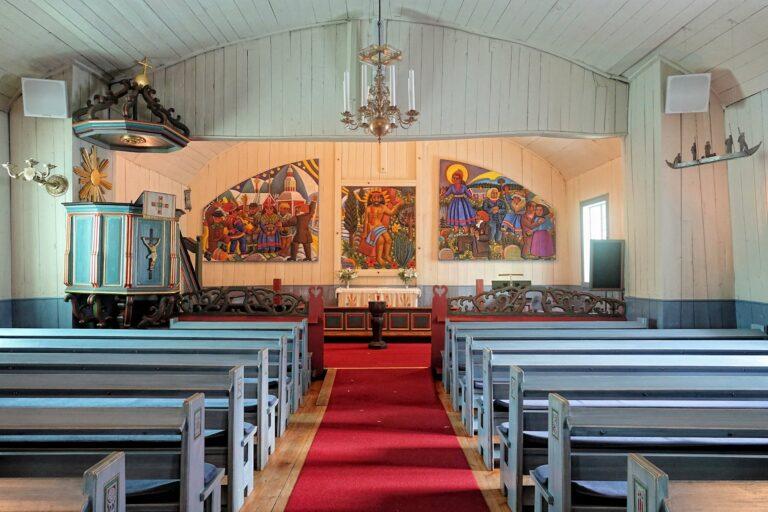 Photo of Saami style Jukkasjärvi church triptych.
