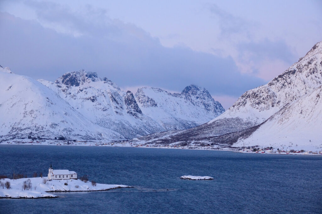 Sildpollneset, Lofoten, in winter.