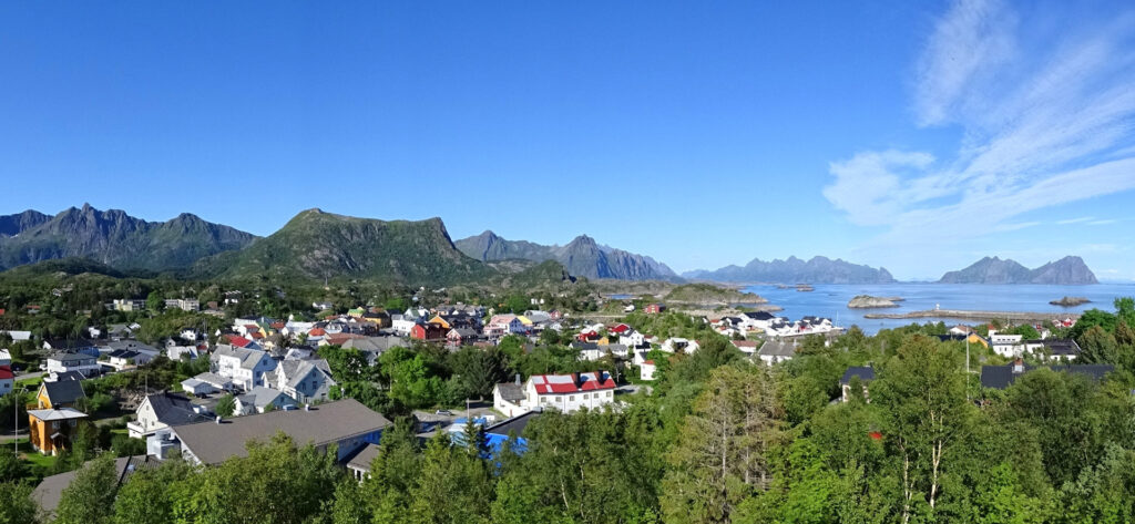 Summer photo from viewpoint in Kabelvåg, Lofoten, Norway.