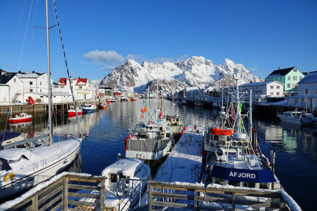 Winter in Henningsvær, Lofoten, Norway.