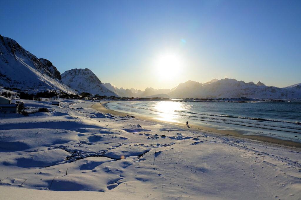 Ramberg beach on a sunny winter day.