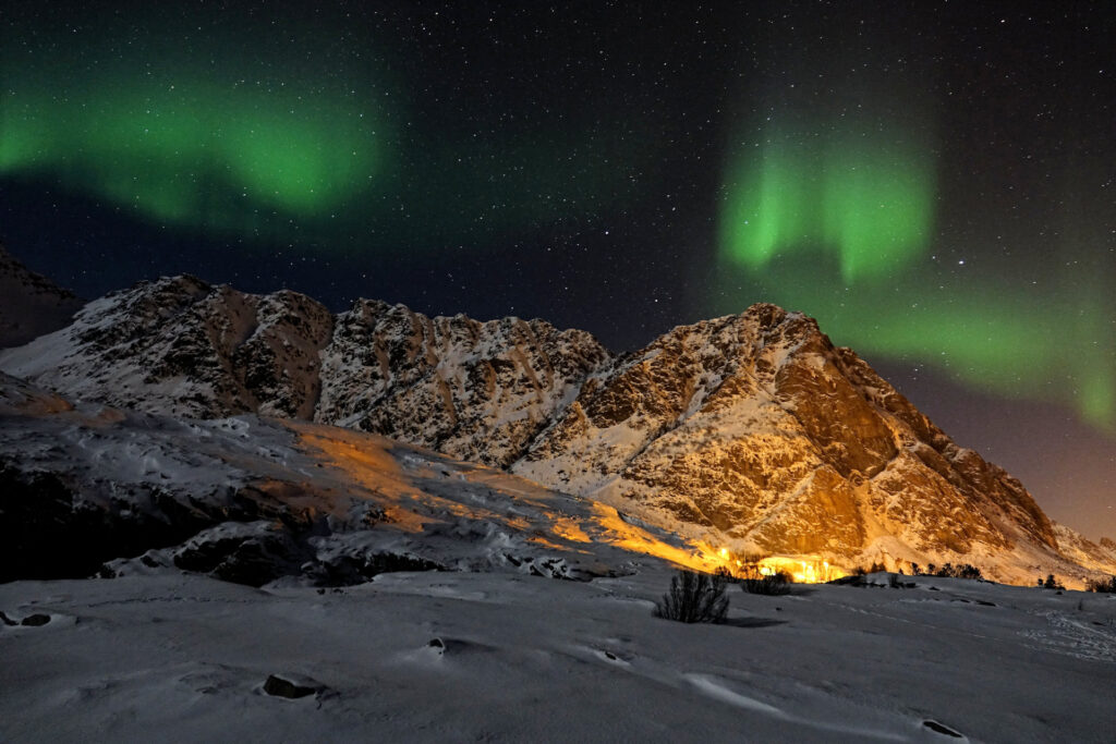Northern lights at Å in Lofoten, Norway.
