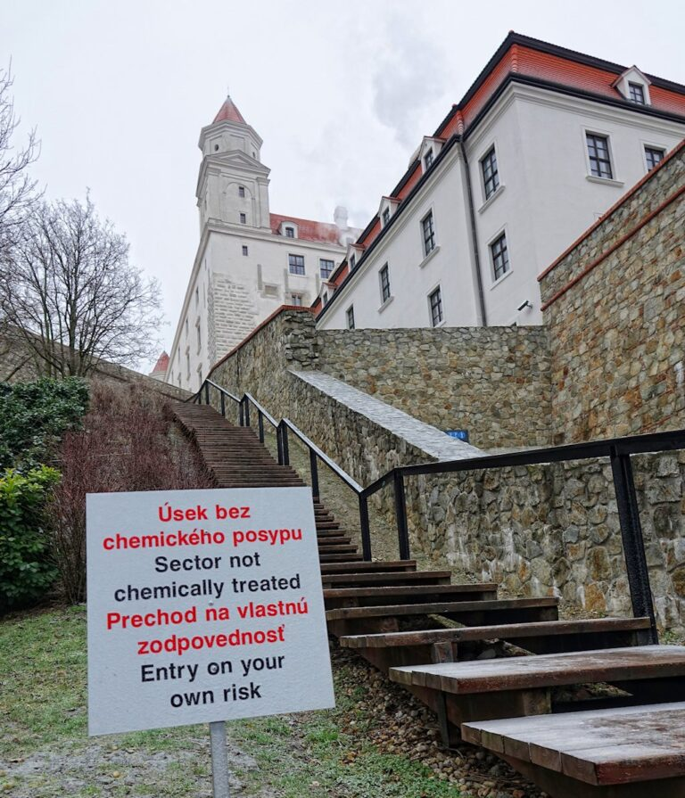 Warning sign at entrance to Bratislava Castle.