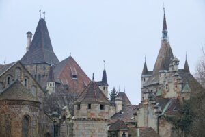 Photo of spires and towers in the City Park in Budapest, Hungary
