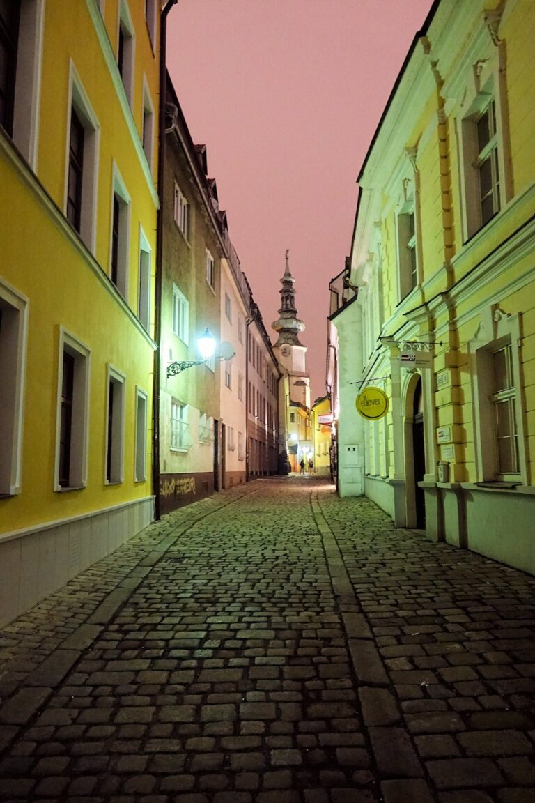 Photo of cobblestone streets in Bratislava, Slovakia.