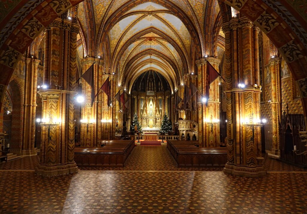 Photo of Matthias Church in Budapest, Hungary, with Christmas decorations up