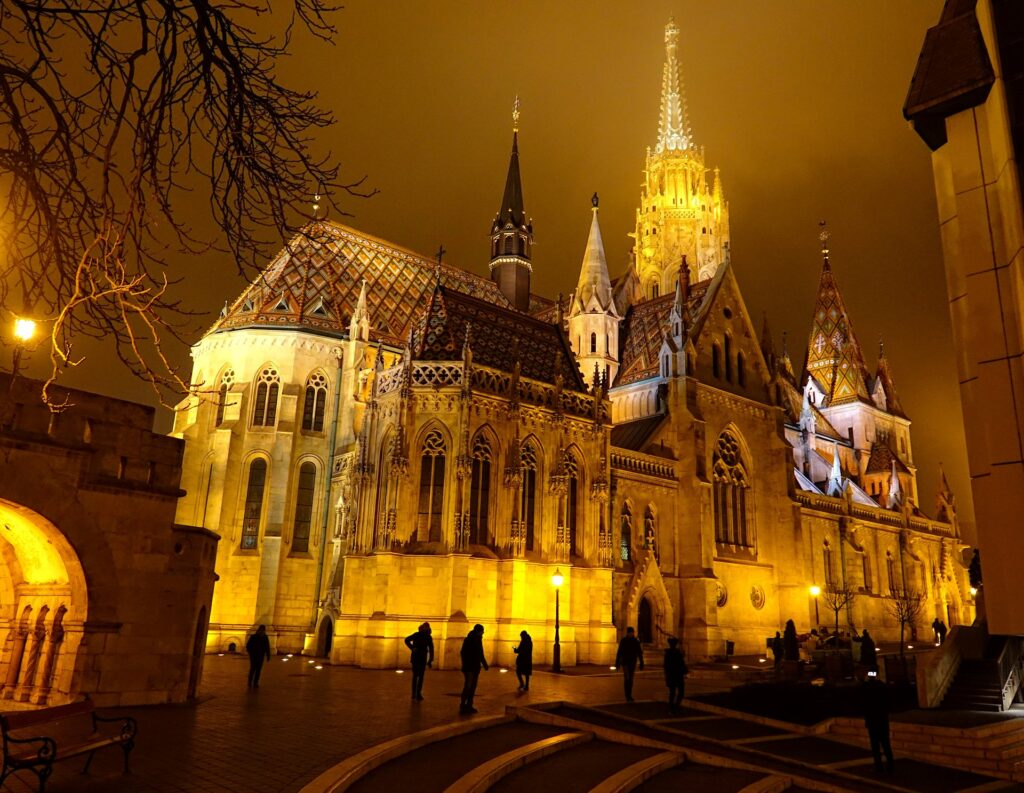 Photo of Matthias Church by night, in Budapest, Hungary