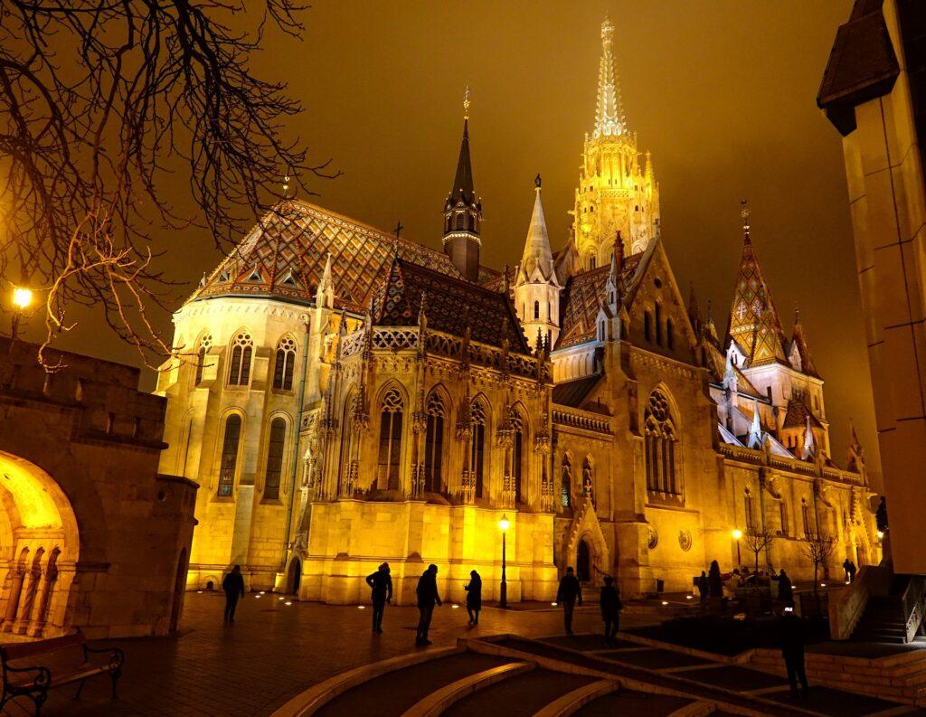 Photo of Matthias Church by night, in Budapest, Hungary