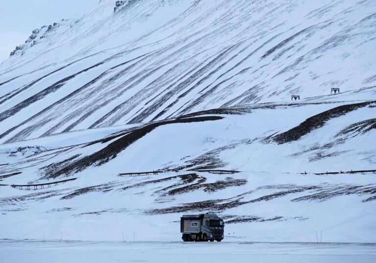 Photo of car transporting coal near Longyearbyen, Svalbard.