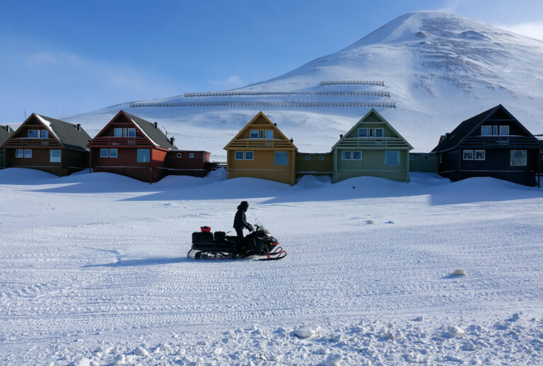 Photo of the iconic houses in Longyearbyen, Svalbard.