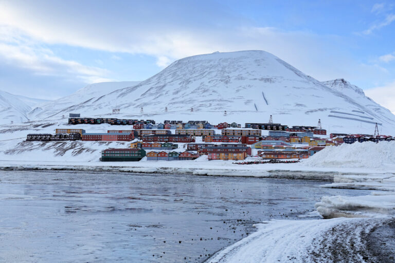 Photo of houses in Gruvedalen in Longyearbyen, Svalbard.