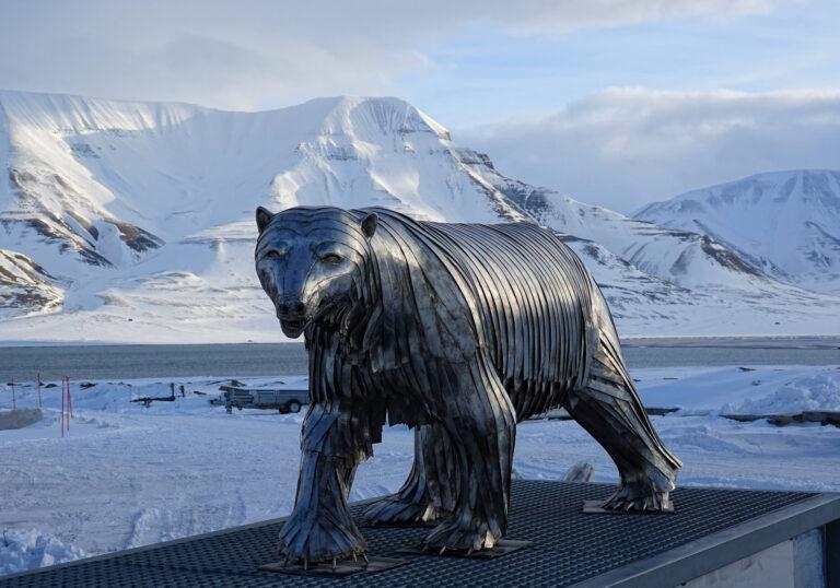 Photo of full metal polar bear in Longyearbyen, Svalbard.