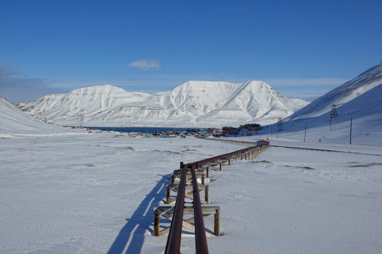 Photo of water and heating pipelines in Longyearbyen, Svalbard.