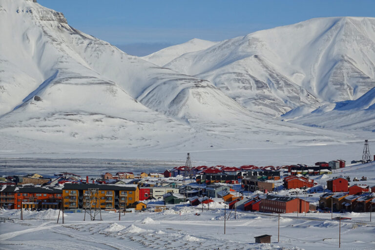 Photo of colorful town center in Longyearbyen, Svalbard.