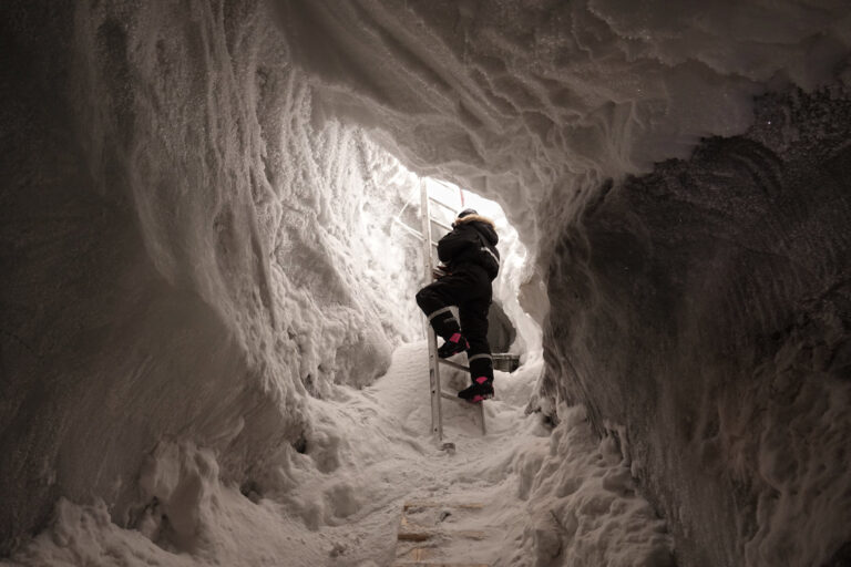 Photo of entrance to the ice cave at Longyearbreen glacier in Svalbard, Norway.