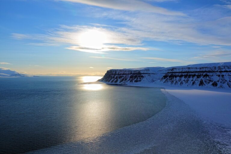 Photo of disappearing ice on Tempelfjorden, Svalbard.