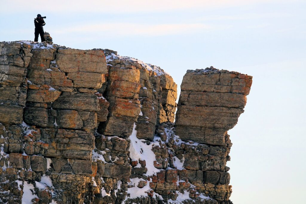 Photo of loose rocks at the top of Fjordnibba, Svalbard.