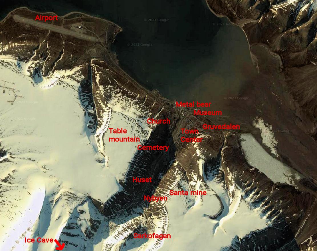 Map showing some sightseeing spots in Longyearbyen.
