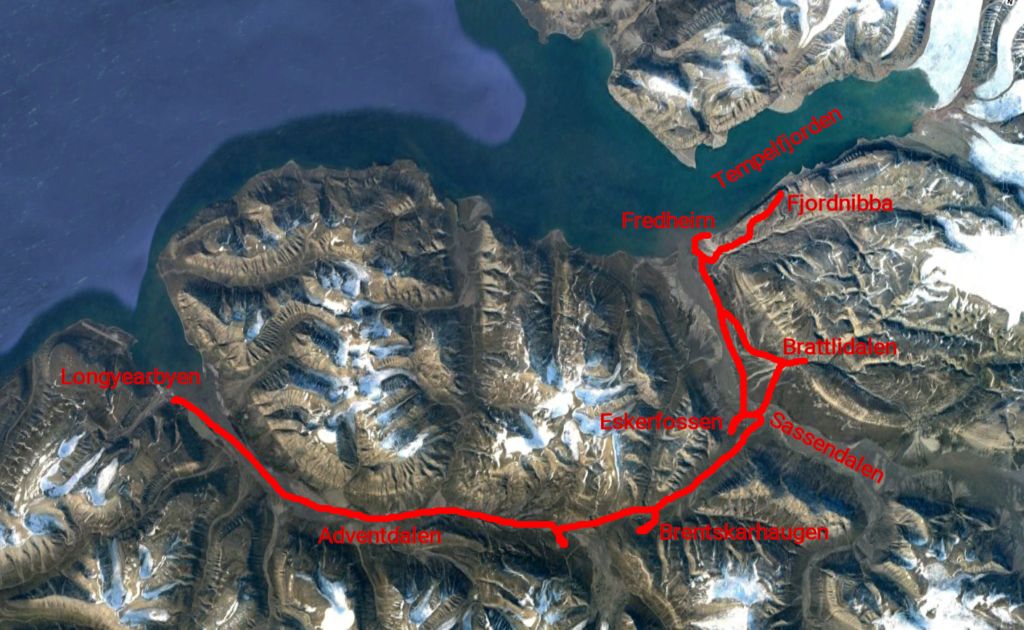 Map showing some interesting spots on a tour from Longyearbyen to Tempelfjorden and back.