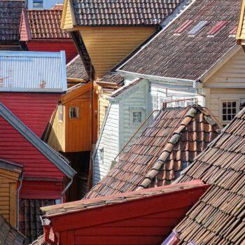 Photo of the rooftops of Bryggen, Bergen.