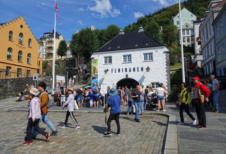 Photo of the entrance to Fløibanen in Bergen, Norway.
