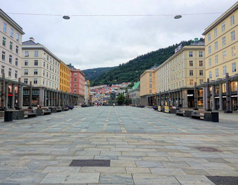 Photo of Torgallmenningen, the main square in Bergen, Norway.