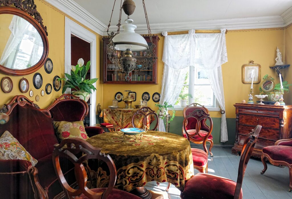 Photo of old living room at the Old Bergen Museum in Bergen, Norway.
