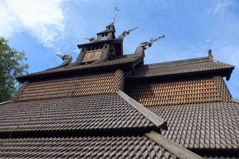 Photo of roof details from Fantoft stave church in Bergen, Norway.