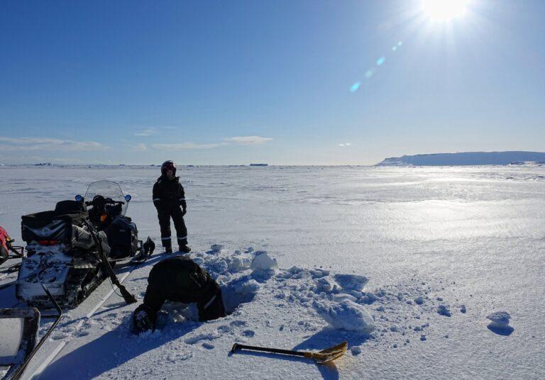 Photo of testing the ice on Mohnbukta, Svalbard.