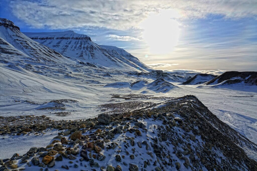 Photo of alien landscape in Sassendalen on Svalbard, Norway.